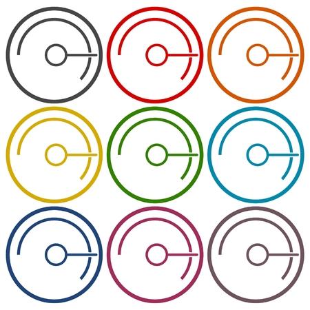 pressure gauge: Simple Pressure gauge, manometer icons set Illustration