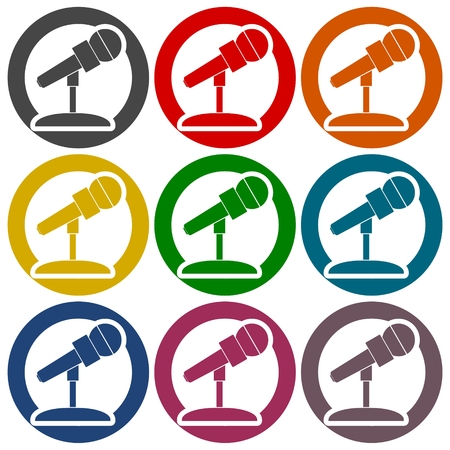 amplification: Microphone Icons set Illustration