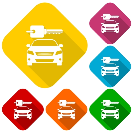 Rent a Car Transportation design icons set with long shadow Illustration