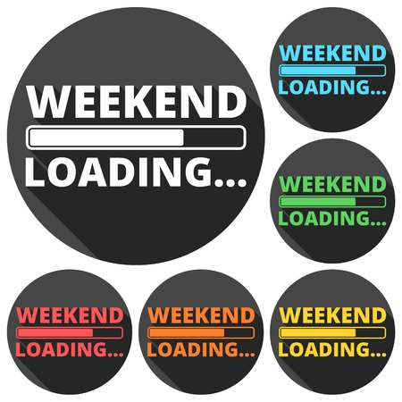 long weekend: Weekend Loading icons set with long shadow