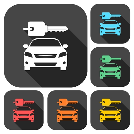 driver license: Rent a Car Transportation design icons set with long shadow Illustration
