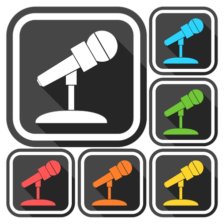 amplification: Microphone Icons set with long shadow