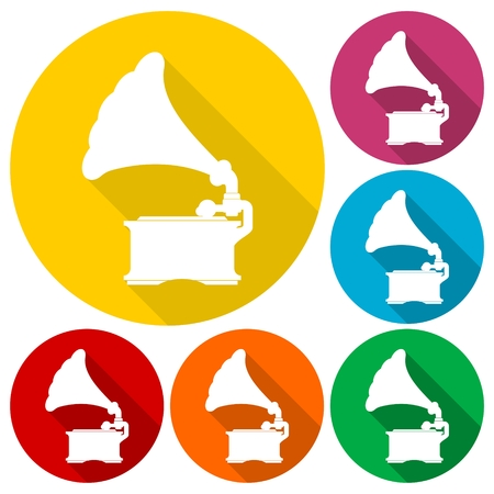 sound box: Old Gramophone icons set with long shadow Illustration