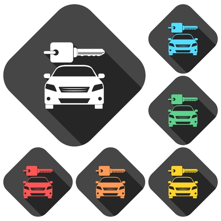 Louer une conception de transport de voitures icons set avec une longue ombre Banque d'images - 61473685