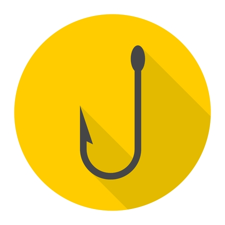 allure: Fishing Hook vector icon with long shadow Illustration