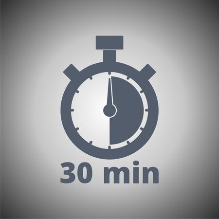 30 minutes stopwatch symbol, Timer icon  イラスト・ベクター素材