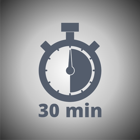 minutes: 30 minutes stopwatch symbol, Timer icon Illustration