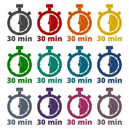minutes: 30 minutes stopwatch symbol, Timer icons set