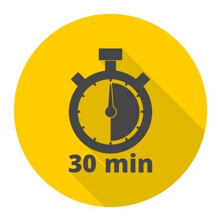 30 minuten stopwatch symbool, Timer pictogrammen die met lange schaduw Stock Illustratie