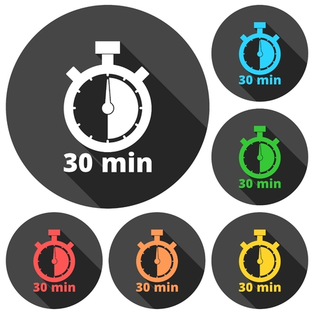 minutes: 30 minutes stopwatch symbol, Timer icons set with long shadow