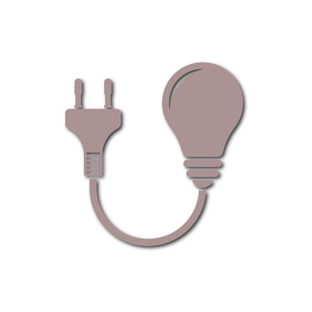 Electric plug and bulb sign icon