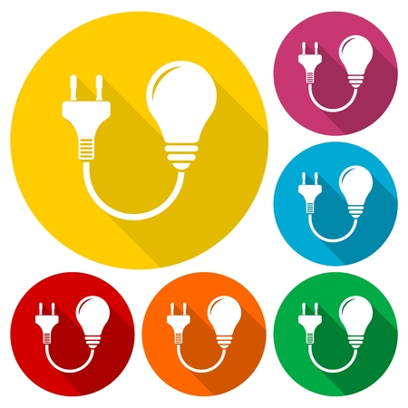 unplug: Electric plug and bulb sign icons set with long shadow
