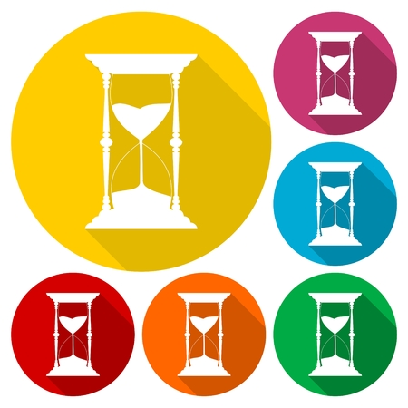 Sand Hourglass icons set with long shadow