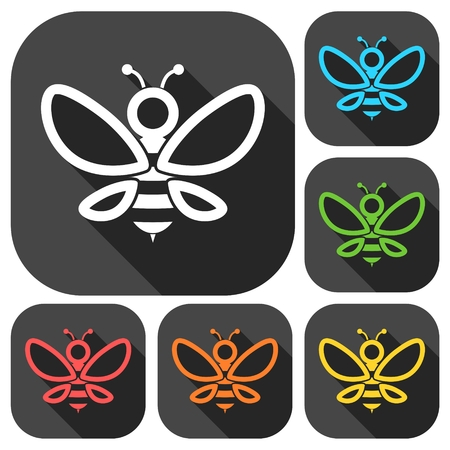 mead: Bee Silhouette illustration icons set with long shadow