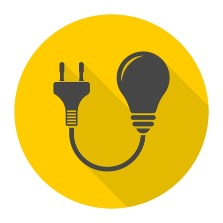 brink: Electric plug and bulb sign icons set with long shadow