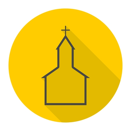 Church building icon with long shadow