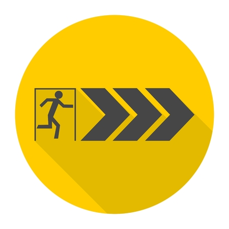 fire exit: Fire exit icon with long shadow