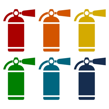 suppression: Fire extinguisher icons set