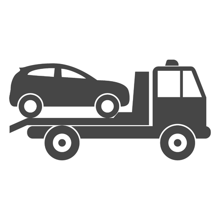 roadside assistance: Car towing truck icon Illustration