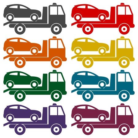roadside assistance: Car towing truck icons set