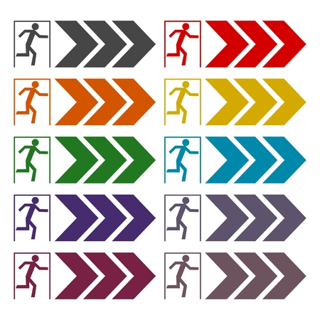 fire exit: Fire exit icons set Illustration