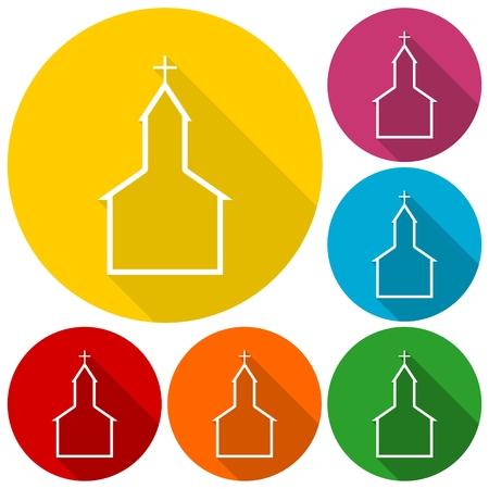 Church building icons set with long shadow Illustration