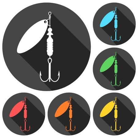 Fishing Lure icons set with long shadow