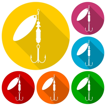 lure: Fishing Lure icons set with long shadow