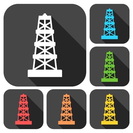 industrial complex: Oil rig icons set with long shadow Illustration