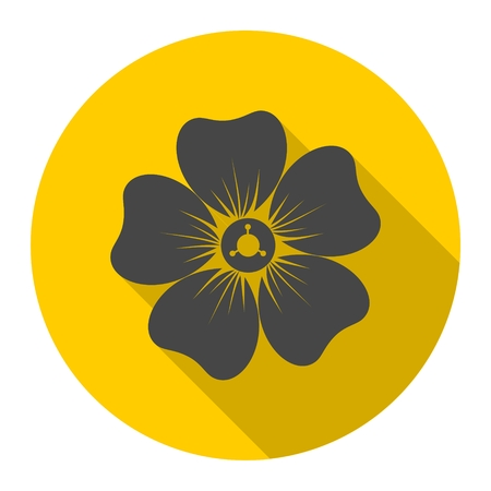 margerite: Silhouette of flower icon with long shadow Illustration