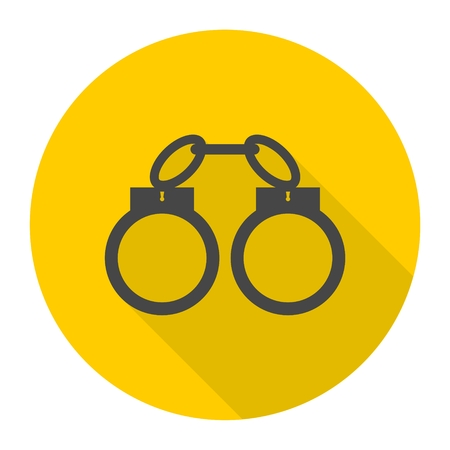 Handcuffs icon with long shadow