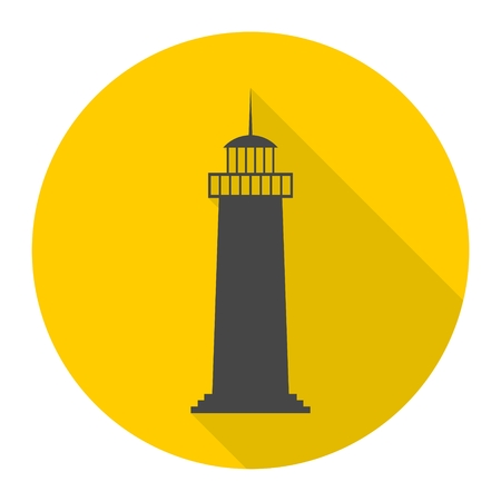 Lighthouse icon with long shadow Illustration