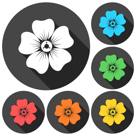 daisyflower: Silhouette of flower icons set with long shadow Illustration