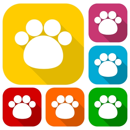 red animal: Paw Print With Long Shadow icons set