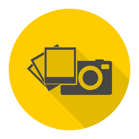 photography equipment: Camera with photos icon Illustration