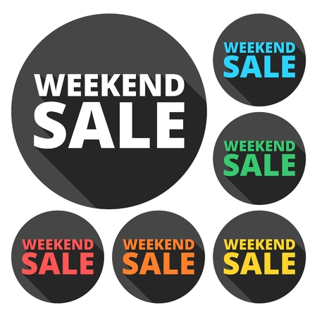 long weekend: Weekend Sale icons set with long shadow
