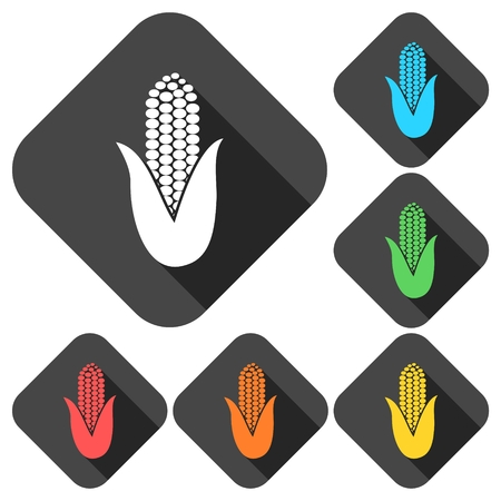 the kernel: Corn symbol icons set with long shadow Illustration