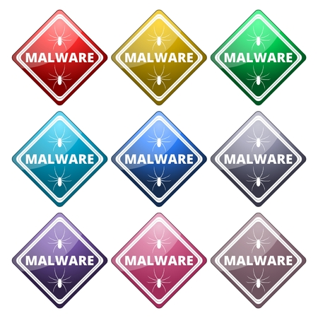 malware: Malware Attention Hazard sign, icons set