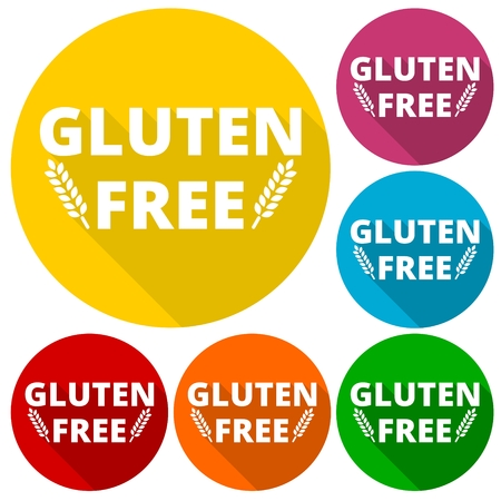 celiac: Gluten free icons set with long shadow Illustration