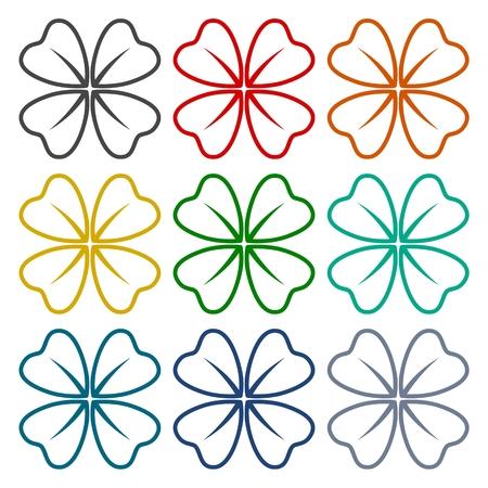 trifolium: Four Leaf Clover icons set