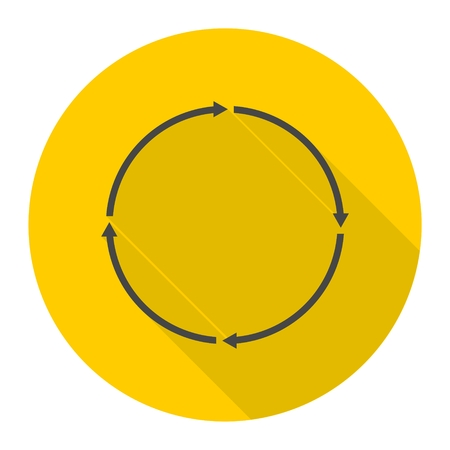 newest: Color arrows in circle icon with long shadow