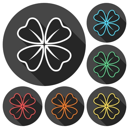 trifolium: Four Leaf Clover icons set with long shadow