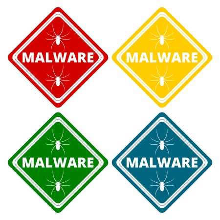 hazard sign: Malware Attention Hazard sign, icons set