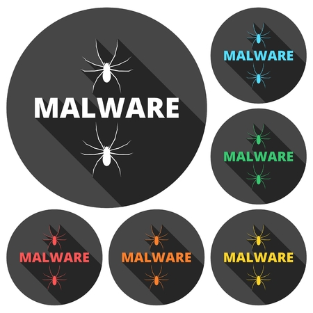 malware: Malware Attention Hazard sign, icons set with long shadow