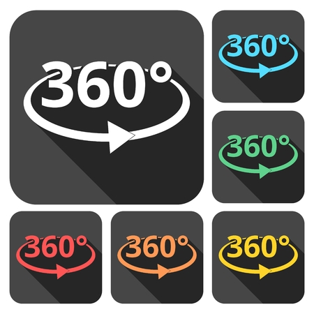 degrees: 360 degrees icons set with long shadow Illustration