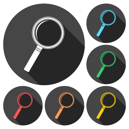 lupa: Search (Lupa) Icons set with long shadow Illustration