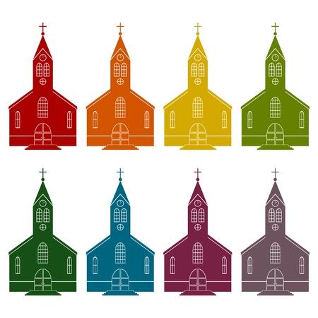 Church icons set Illustration