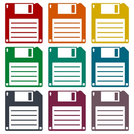 textfield: Magnetic floppy disc icons set Illustration