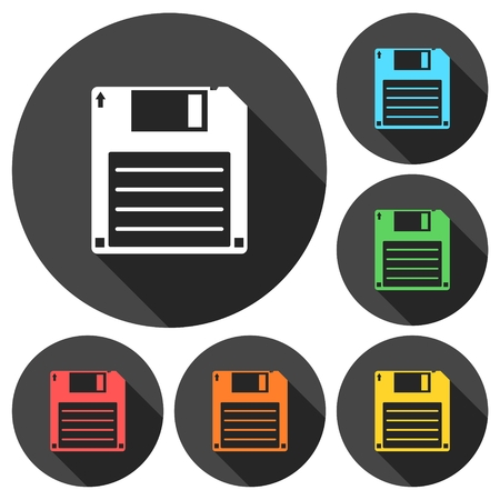 textfield: Magnetic floppy disc icons set with long shadow Illustration