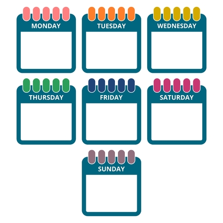 days of the week: Days of the week, Calendar sheets with the days of the week Illustration